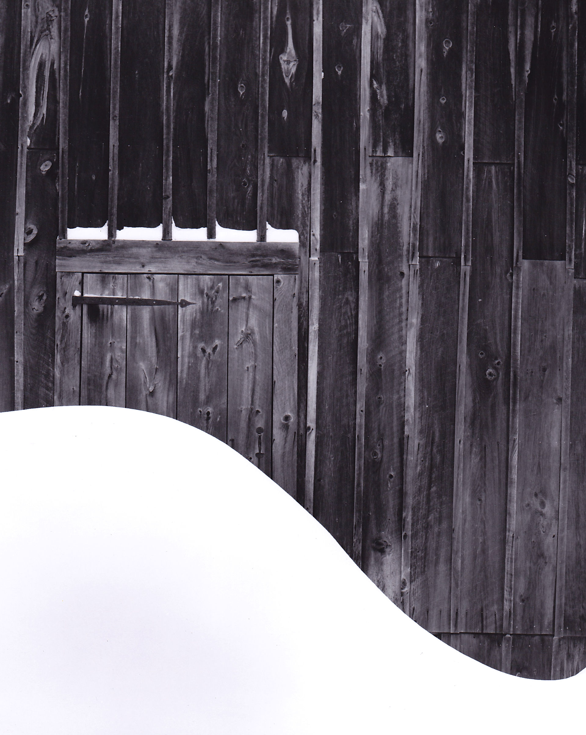 barn and snowdrift photograph
